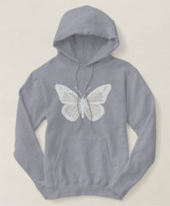 White on White Monarch Butterfly Hoodie SN01