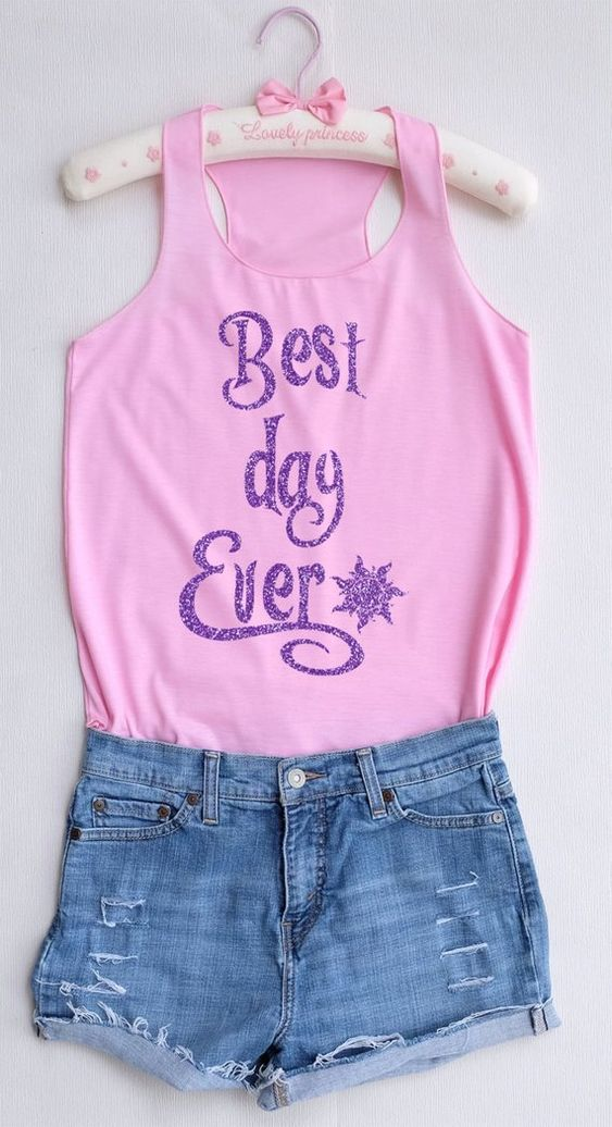 Glitter Best Day Ever Tank Top EL01