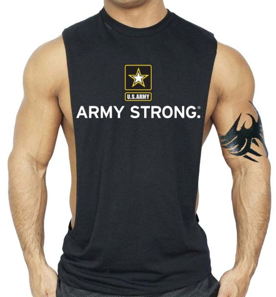 Mens Us Army Strong Flag Black Workout Tank Top KH01