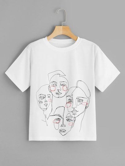 Abstract Figure Print Tee T-shirt AI31