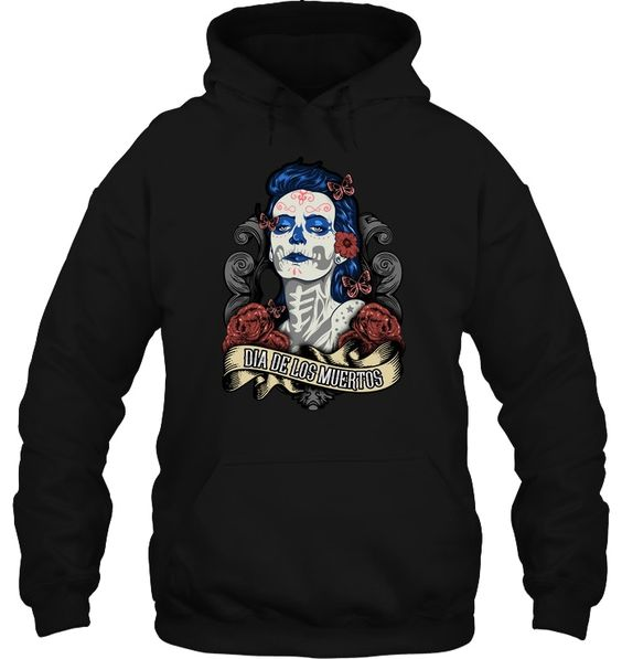 the Dead Mexican SugarSkull Flower Mystic Hoodie AI01