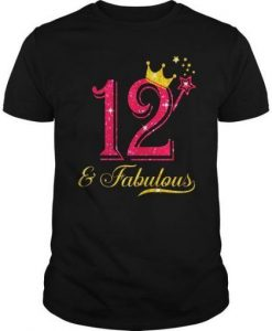 12th Birthday Girl Fabulous T-Shirt DV1N
