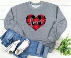 Buffalo Plaid Love Sweatshirt EL5F0
