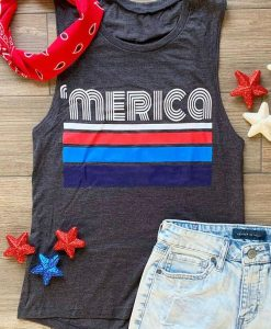 'Merica Striped American Flag Tanktop DF7JL0